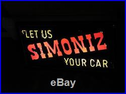 Simoniz Antique Vintage Lighted Sign Very Rare Car Cleaning Products Works Glass