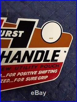 T Handle Hurst Floor Shifters Thick Metal Sign Vintage Porcelain like MUSCLE CAR