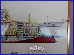 Transatlantico Michelangelo E Raffaello Insegna Originale! Ship Vintage Italia