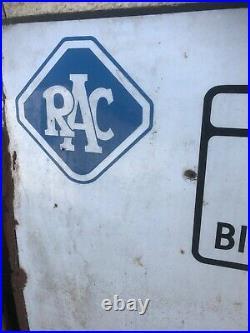 VERY BIG Vintage Enamel Road Sign -RAC Birmingham, city centre, Tamworth