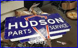 VINTAGE 1940s 1950s HUDSON DEALERSHIP DISPLAY PORCELAIN SIGN 2 SIDED HORNET STEP