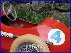 VINTAGE 1950's INDIANAPOLIS GIORDANI FERRARI INDY RACE PEDDLE CAR FORMULA 2 TOY