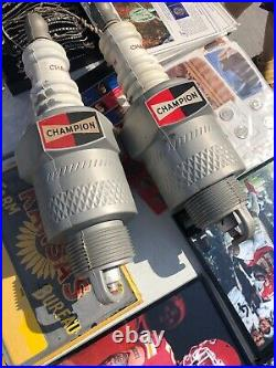 VINTAGE 2 Two Plastic CHAMPION SPARK PLUG DISPLAY ADVERTISING Auto 50-60s