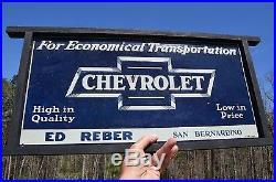 VINTAGE 30's CHEVROLET FOR ECONOMICAL TRANSPORTATION BOWTIE DEALER SIGN SCARCE