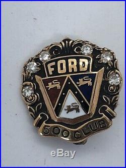 VINTAGE 6 DIAMOND 10K GOLD FORD MOTOR VEHICLES 500 CLUB PIN 3.3 Grams