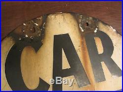 VINTAGE ANTIQUE RARE 1900s RAILROAD / TROLLEY CAR STOP PORCELAIN SIGN 2 SIDED