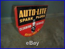 Vintage Auto-lite Spark Plugs Double Sided Flange Porcelain Sign