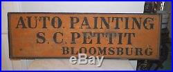 VINTAGE AUTO PAINTING S. C. PETTIT BLOOMSBURG YELLOW BLACK 1930's/40's 38 LONG