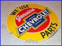Vintage Chevrolet Genuine Parts 11 1/4 Porcelain Car, Truck, Gas & Oil Sign! Nr