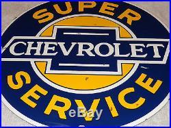 Vintage Chevrolet Super Service 11 1/4 Porcelain Car, Truck, Gas & Oil Sign! Nr