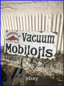 VINTAGE ENAMEL SIGN GARGOYLE MOBILOIL AUTOMOBILIA free Post