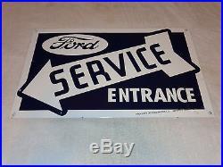 Vintage Ford Service Entrance 24 X 14 3/4 Porcelain Car, Truck, Gas & Oil Sign