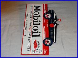 Vintage Mobil Mobiloil Gargoyle Race Car 16 X 10 Metal 2 Sided Flange Sign Nr