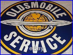 Vintage Nos Oldsmobile Service 11 3/4 Porcelain Car, Gas & Oil Sign! Pump Plate