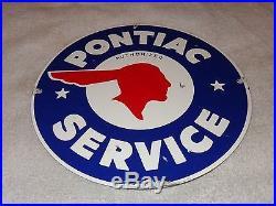Vintage Pontiac Authorized Service 11 1/4 Porcelain Car, Gas & Oil Sign! Nr