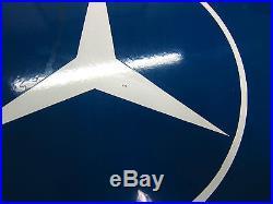 Vintage Porcelain Enamel Mercedes-benz Sign Dealership Service Dealer Auto Car