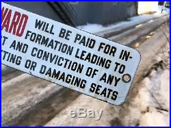 VINTAGE PORCELAIN c. 1930 WARNING REWARD $25 TROLLEY TRAMWAY STREET CAR SIGN