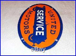VINTAGE UNITED MOTOR SERVICE 16 1/2 x 11 PORCELAIN CAR, GAS & OIL SIGN! NR