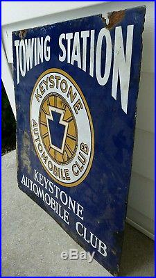 VTG Original Porcelain Double Sided Sign Keystone Automobile Club Towing Station