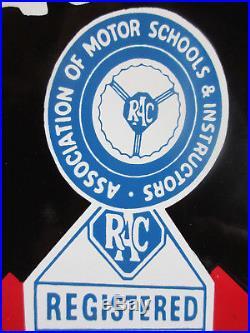 Vgc Rac Reg Man Antique Old Vintage Enamel Advertising Sign Automobile Motoring