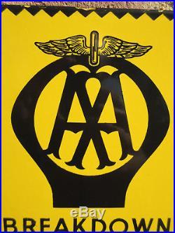Vgc Sml Old Antique Vintage Aa Enamel Porcelain Advertising Sign Auto Car Badge