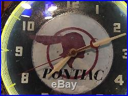 VinTagE PONTIAC Dealer INDIAN Advertising NEON CLOCK Sign WORKS Car Auto HOT ROD