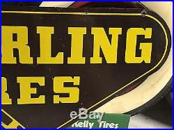 VinTage ORIGINAL SEIBERLING TIRES Double Sided DST SIGN Car Truck GaS OiL OLD