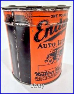 Vintage 1920's Western Auto Endurance Lube Advertising Oil Can With Graphic RARE
