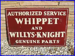 Vintage 1920's Whippet Willys Knight Antique Advertising Sign, 2 Sided Porcelain