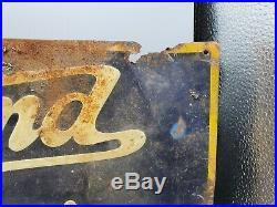 Vintage 1920s Overland Service Nebraska Car Dealership Tin Sign / Jeep Willys