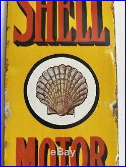 Vintage 1920s SHELL MOTOR SPIRIT finger Plate Enamel Porcelain Sign