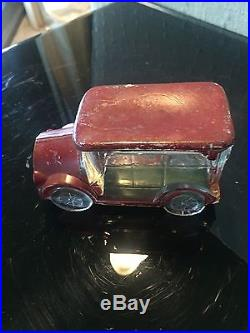 Vintage 1930S Red Painted Glass Car Candy Container Rare Metal Base