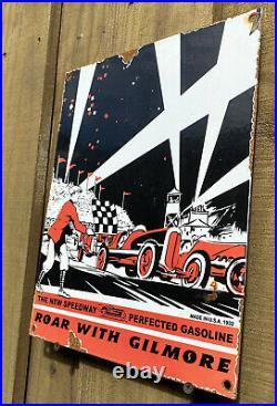 Vintage 1932 Gilmore Gasoline Porcelain Sign Oil Gas Station Race Car Stadium