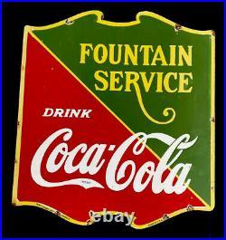 Vintage 1936 Coke Coca-cola 25 Fountain Service Porcelain Sign Car Oil Gas