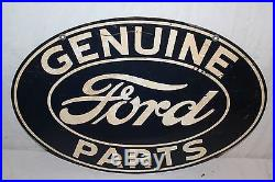 Vintage 1940's Ford Genuine Parts Dealership Gas Oil 2 Sided 24 Metal Sign