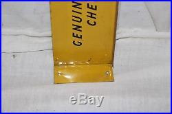 Vintage 1940's Genuine Chevrolet Parts Gas Oil 2 Sided 22 Metal Flange Sign