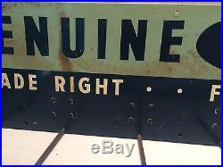 Vintage 1940's Genuine Ford Fan Belts Car Dealership Gas Oil 34 Metal Sign