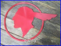 Vintage 1940's Pontiac Indian Head Logo Sign Excellent Condition