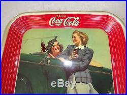 Vintage 1942 COCA COLA Soda Metal Serving Tray TWO GIRLS CAR ROADSTER Very Nice