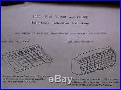Vintage 1950 FORD TUDOR & COUPE Rear Seat Covers FoMoCo Genuine HOT ROD W@W