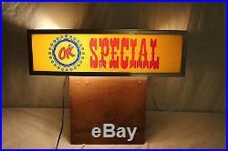 Vintage 1950's OK Special Chevrolet Used Cars Gas Oil 17 Lighted SignWorks