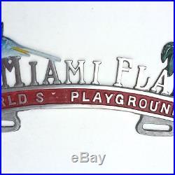Vintage 1950s Miami Florida Old License Plate Topper Car Key Sailfish Original