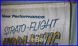 Vintage 1950s Original PONTIAC DEALERSHIP Nylon Advertising Banner Sign AMAZING