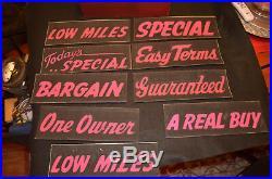 Vintage 1950s Used Car Dealership Salesman's Sign Kit Chevrolet, Hudson, Ford