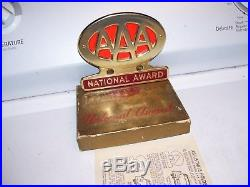 Vintage 1950s original AAA Gold version License plate trunk topper promo emblem