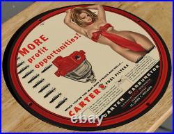 Vintage 1956 Porcelain Carter Carburetor Fuel Gas & Oil Automobile Racing Sign