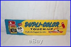 Vintage 1960's Dupli-Color Car Paint Paints Gas Oil 2 Sided 18 Metal Sign