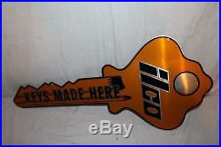 Vintage 1960's Ilco Keys Made Locksmith Car Key Gas Station 32 Metal Sign