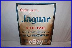 Vintage 1960's Jaguar Car Dealership Gas Oil 2 Sided 24 Metal Sign