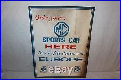 Vintage 1960's MG Sports Car Dealership Gas Oil 2 Sided 24 Metal Sign